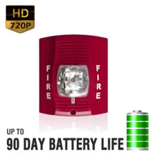 720P HD Motion Activated Fire Alarm Strobe Light Hidden Camera with Up to 90 Day Battery Life