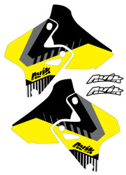 Suzuki VK Series Yellow/Black non custom shroud decals.