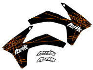 Orange on black color way of the KTM VK Rise series shroud decals.