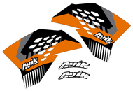 KTM VK Series Black/Orange Non Custom Shroud Decals.