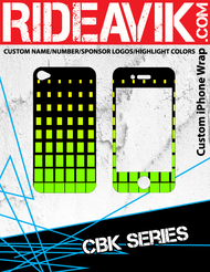 Avik moto graphics CBK series iPhone wrap. Choose your own motocross sponsors for your own custom iPhone graphics.
