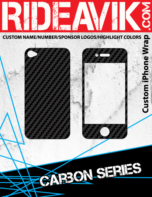 Avik mx graphics Carbon series iPhone wrap. Choose your own motocross sponsors for your own custom iPhone graphics.