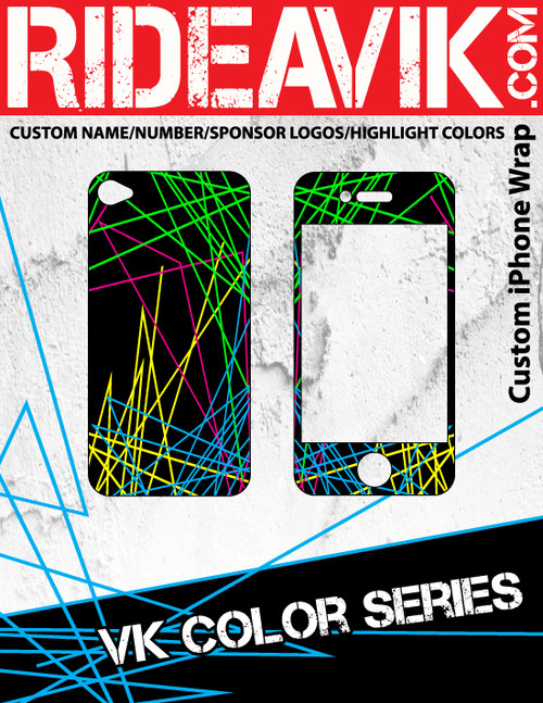 Avik mx graphics VK Color series iPhone wrap. Choose your own motocross sponsors for your own custom iPhone graphics.