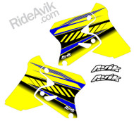 Suzuki Kudla ISDE13 yellow/blue non custom shorud decals