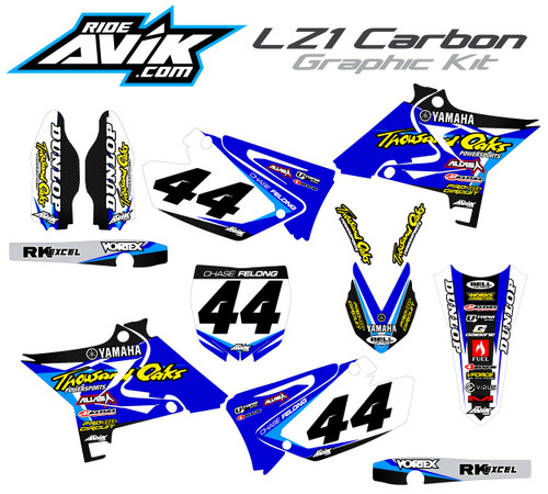 Customize this graphic kit with your name/number, background colors, sponsor logos and artwork colors, this kit is shown with a process blue highlight