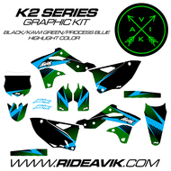 Kawasaki K2 Series Custom Graphics Kawi Green/ProcessBlue/Black highlight