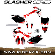 Avik custom dirt bike graphics slasher series with honda red highlight.