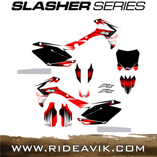 Avik custom dirt bike graphics slasher series with honda red highlight.