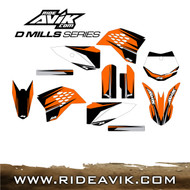 KTM D Mills Series graphic kit with custom backgrounds