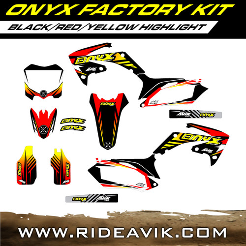 Onyx Factory Series Custom Graphic Kit Honda black/red/yellow color way