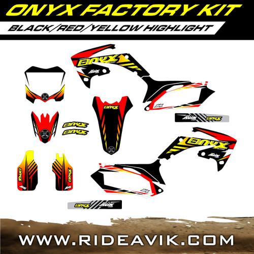 Onyx Factory Honda Semi Custom Graphic Kit Black/Red/Yellow highlight