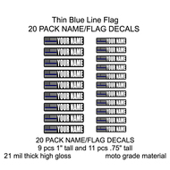 Thin Blue Line Name/Flag Decals 20 pieces