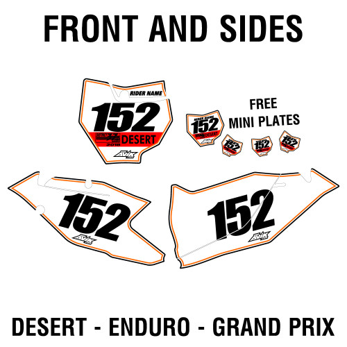 Custom Outline style District 37 number plates Desert Enduro Grand Prix