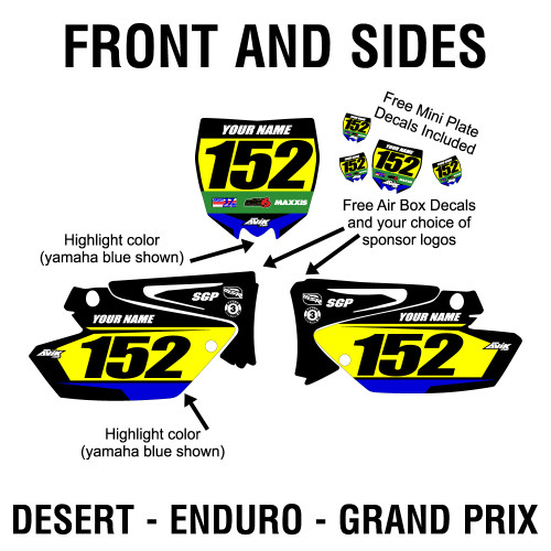 Avik District 37 Desert or District 37 Grand Prix or enduro custom number plate design, customize with your own colors, and bar information plus choice of sponsor logos.