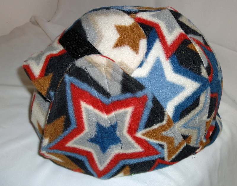 Helmet with fleece cover pulled up