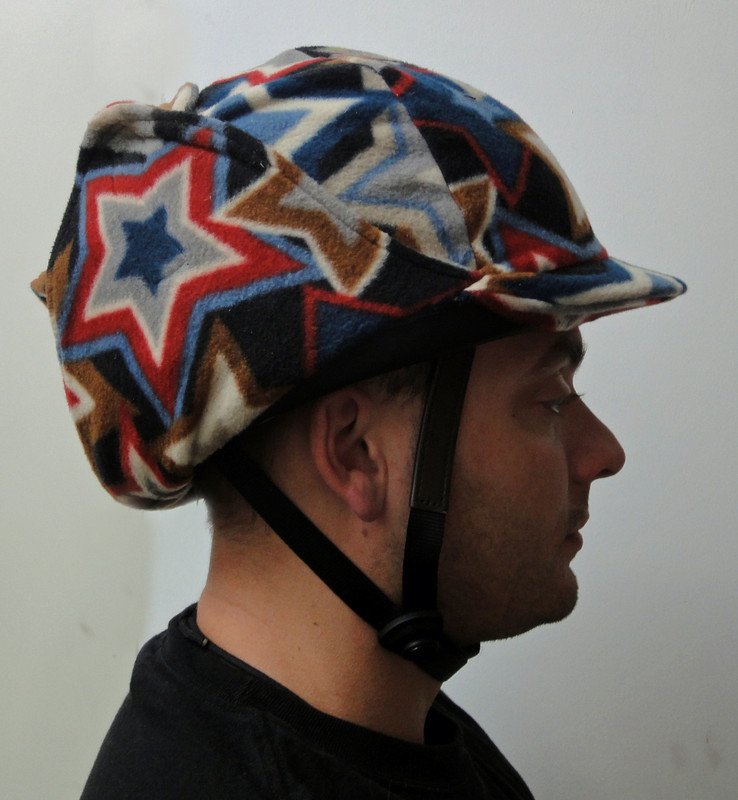 Side view when helmet cover is pulled up.
