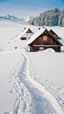 Snowy Mountain Cabin Backdrop