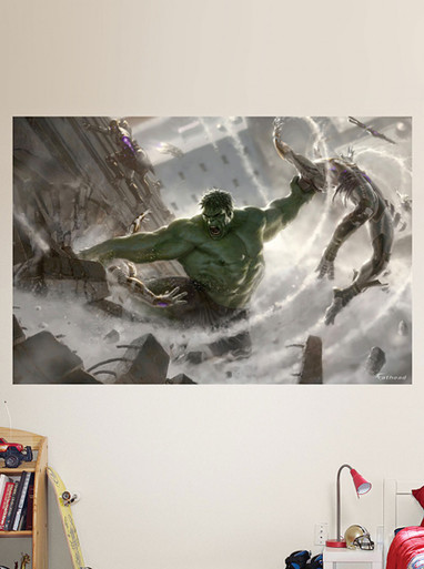 Incredible hulk avengers fathead wall mural for sale for Avengers wall mural amazon