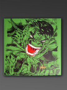 The Incredible Hulk Silk-Screened Canvas by Steve Kaufman Signed by Stan Lee