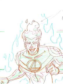 Fantastic Four Artwork - Original Animation Art featuring Human Torch