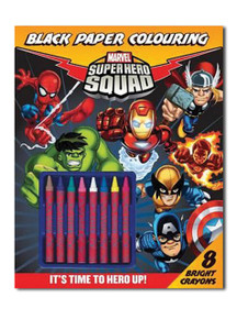 Marvel Super Hero Squad Black Paper Coloring Book (with Crayons)
