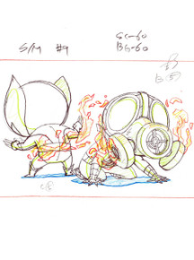 Original Marvel Animation Studios Animation Art scene setup from Ultimate Spider-man in Chibi style.