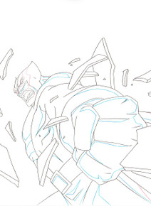 Close up of Wolverine animation art for the animated series Ultimate Spider-Man S01E09
