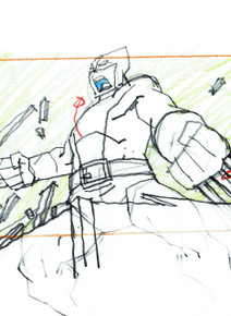 Close up of Wolverine Scene Setup animation art for the animated series Ultimate Spider-Man season 1, S01E09