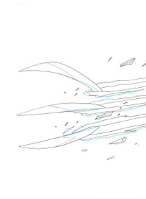 Close up of Wolverine's claws screen used production animation art for the animated series Ultimate Spider-Man S01E09