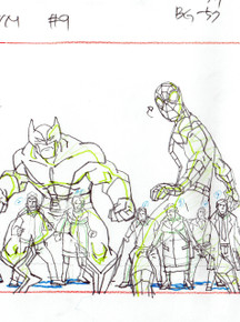 Close up of Wolverine and Spider-Man surrounded by an angry mob of people in this  production Scene Setup with extension. . Original animation art from the animated series Ultimate Spider-Man S01E09