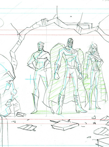 X-Men Original Art For Sale from Marvel TV Series - featuring 4 characters, Magneto, Quick Silver, Scarlet Witch, Professor X