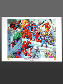 Arthur Adams Heroes & Villains Masterpiece Lithograph Marvel Comics Superheroes