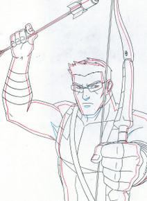 Hawkeye knocks an arrow as he prepares for battle versus Red Skull