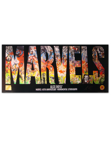 Huge Marvels 40th Anniversary Lithograph Autographed by Alex Ross