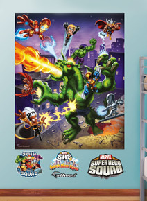 Super Hero Squad to the rescue with this awesome Fathead featuring Storm, Falcon, Iron Man, Thor, Wolfie and more!