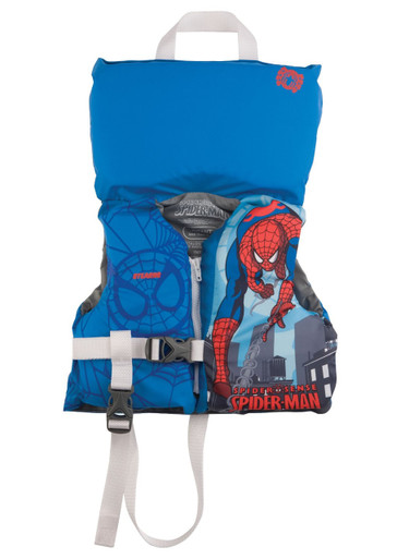 Stearns infant light blue life jacket featuring Spider-Man