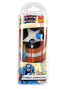 Stereo in-ear headphones featuring Captain America