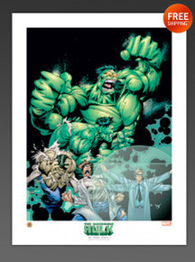 "THE INCREDIBLE HULK TRANSFORMATION 18"" by 24"" LITHOGRAPH"