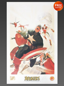 AVENGERS Commemorative Lithograph Signed by Artist ALEX ROSS - Dynamic Forces