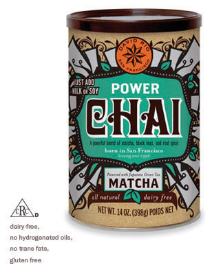 NEW Power Chai® (dairy-free) David Rio's (only completely) dairy-free, vegan chai is craft blended with black tea and Japanese matcha. Its rich and bold taste is enlivened with the traditional flavors of real chai spices including ginger, clove, cinnamon, star anise and cardamom. Powered with antioxidants from the matcha teas, it is delicately blended into a convenient mix that makes an excellent gift as well as a perfect daily cup. Simply mix with milk or milk substitute.