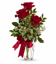 3 Red Roses Vased
