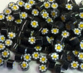 Millefiori Black White Yellow Flowers