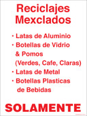 "9 x 12"" Reciclajes Mexclados Solamente. Recycling Decal"