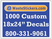 Package of 1000 Custom 18 X 24 Inch Vinyl Decals.