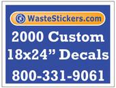 Package of 2000 Custom 18 X 24 Inch Vinyl Decals.