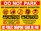"9 x 12"" Multi Message Container Decal Do Not Park 500.00 Fine Caution Container Decal"