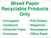"9x12"" Green Mixed Paper Recyclable Products Only. Recycling Container Sticker Decal."