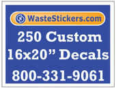 Package of 250 Custom 16 X 20 Inch Vinyl Decals.