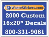 Package of 2000 Custom 16 X 20 Inch Vinyl Decals.