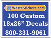 Package of 100 Custom 18 X 26 Inch Vinyl Decals.